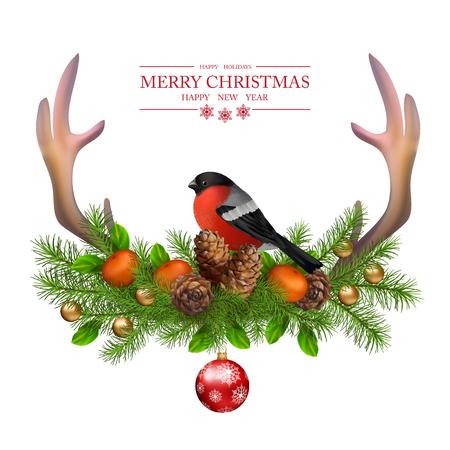 bordes decorativos: Tarjeta de felicitaci�n de la Feliz Navidad vector. Composici�n de vacaciones de las decoraciones de Navidad con cuernos de venado, conos, camachuelo aves en el fondo blanco