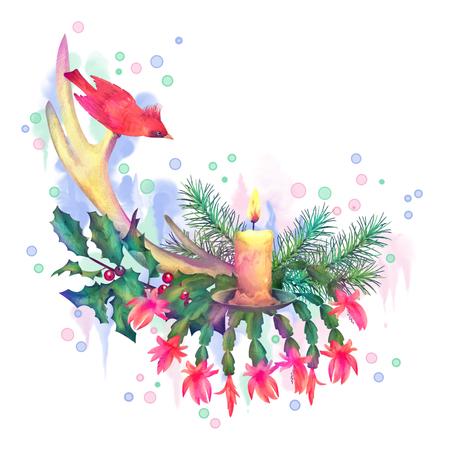velas de navidad: Feliz Navidad Dibujo Acuarela. Composición de vacaciones de las decoraciones de Navidad con cuernos de venado, vela, pájaro en el fondo blanco Foto de archivo