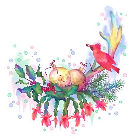 oiseau dessin: Joyeux Noël Dessin Aquarelle. Location Composition des décorations de Noël avec des cornes de cerf, bougie, oiseau sur fond blanc Banque d'images
