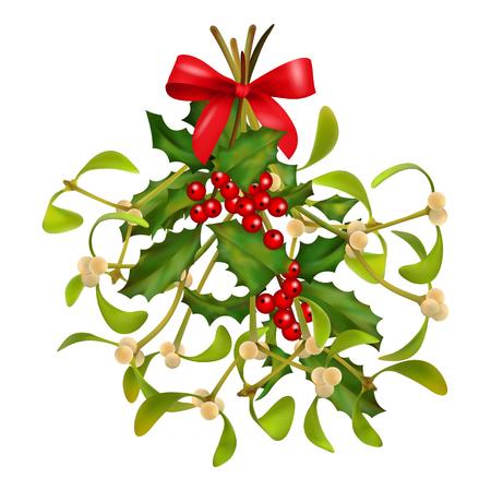 muerdago: Colgar muérdago y el acebo ramo con un lazo rojo sobre un fondo blanco. Navidad símbolo tradicional Vectores