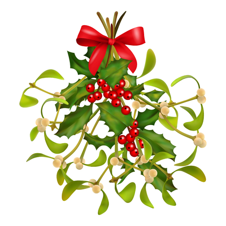 Hanging Mistletoe and Holly bouquet with red bow on a white background. Christmas traditional symbol Vectores