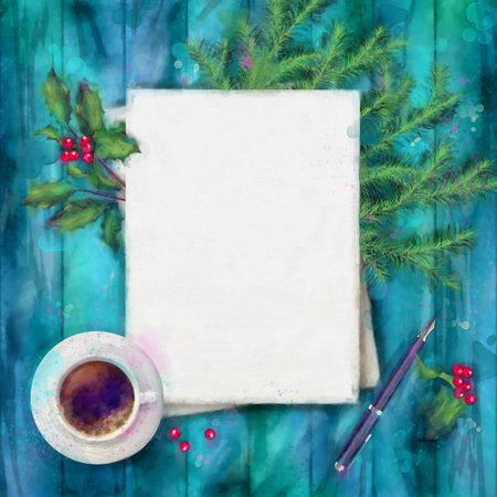 watercolor pen: Christmas watercolor top view background. Blank paper sheet with cup of coffee, pen, and decorations on wood table Stock Photo