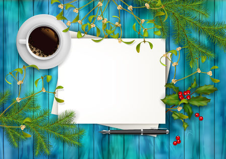note board: Christmas vector top view background. Blank paper sheet with cup of coffee, pen, Holly and Mistletoe on wooden table