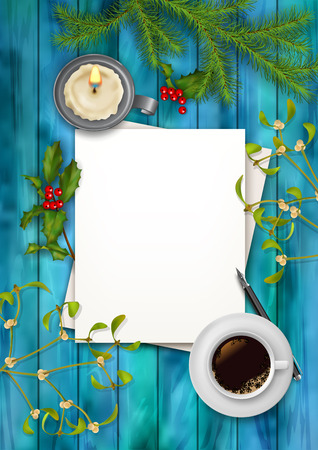 candleholder: Christmas vector top view background. Blank paper sheet with cup of coffee, pen, candle, Holly and Mistletoe on wooden table