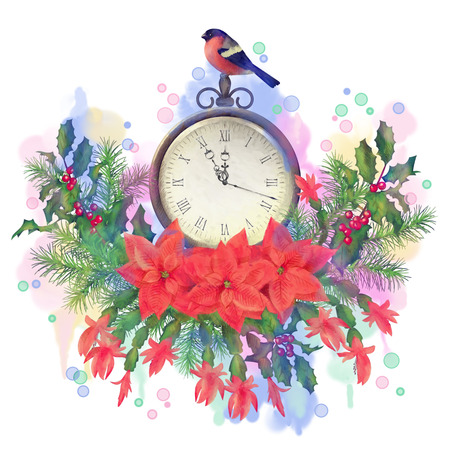 stock photo watercolor christmas greeting card holiday composition of the christmas decorations clock and bird bullfinch in vintage colors