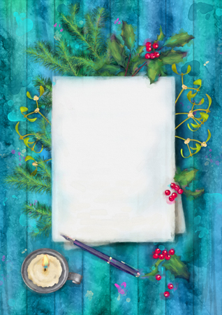 watercolor pen: Christmas watercolor top view background. Blank paper sheet with candle, pen, Holly and Mistletoe on wooden table