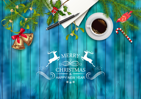 Kerst vector bovenaanzicht achtergrond. Blanco vel papier met een kopje koffie, pen, ornamenten, Holly, Mistletoe en de tekst op houten tafel