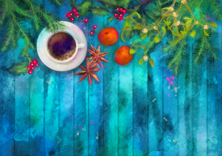 christmas star background: Christmas watercolor top view background. Cup of coffee, fir tree branches, star anise, orange, Holly and Mistletoe on wooden table