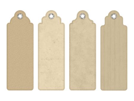 Ensemble de vecteur blanc balises vintage ou signets avec divers subtile carton texture
