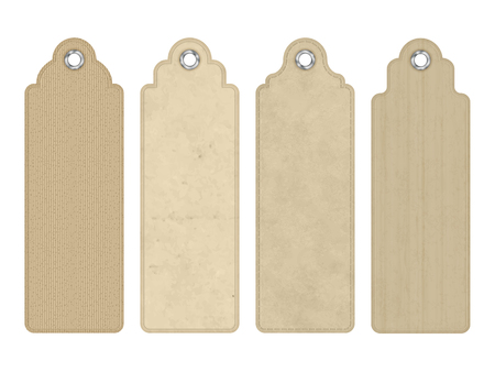 vintage paper: Set of vector blank vintage tags or bookmarks with various subtle cardboard texture Illustration