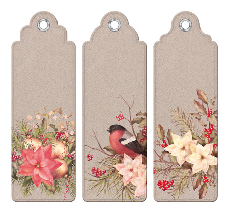 Set of Christmas vintage tags or bookmarks with watercolor compositions