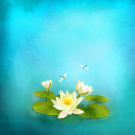 original: Floral aquatic card with water lily and dragonfly painting. Abstract artistic background Stock Photo