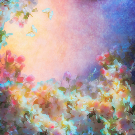 Vintage grunge background with spring cherry blossom. Painting style floral art 스톡 콘텐츠