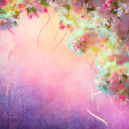blossom background: Watercolor background with spring cherry blossom. Painting style floral art Stock Photo