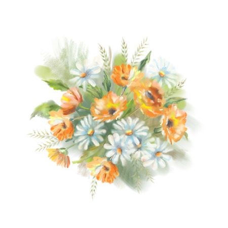 marigold: Watercolor illustration of painted flowers bouquet. The original botanical garden nature art  on a white background