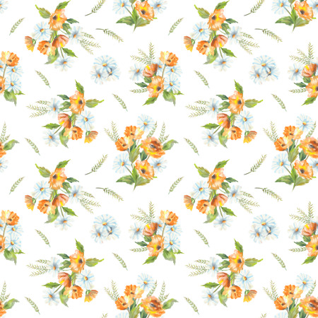 calendula: Watercolor seamless pattern with painted flowers bouquet. The original botanical garden nature art on a white background Stock Photo