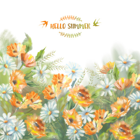calendula: Watercolor illustration of painted flowers bouquet. The original botanical garden nature art  on a white background