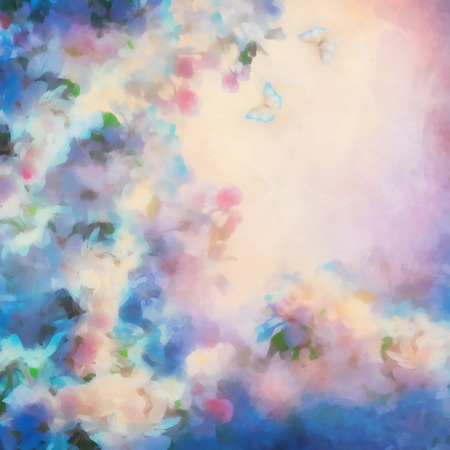 color butterfly: Watercolor background with spring cherry blossom. Painting style floral art Stock Photo