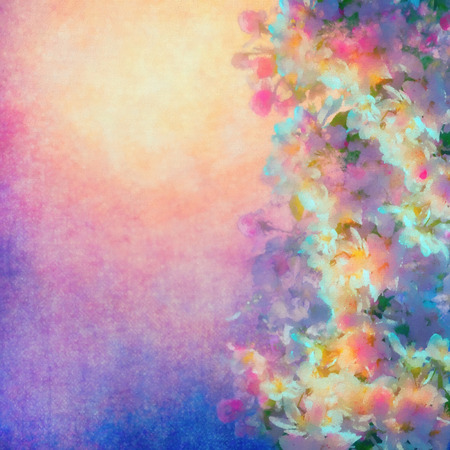 Watercolor background with spring cherry blossom. Painting style floral art 写真素材