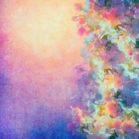 Aquarel achtergrond met lente kersenbloesem. Schilderstijl florale kunst Stockfoto