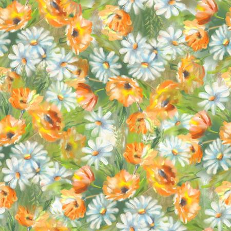 calendula: Watercolor seamless pattern with painted flowers bouquet. The original botanical garden nature art