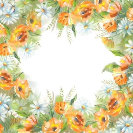 calendula: Watercolor illustration of painted flowers border over a white. The original botanical garden nature art