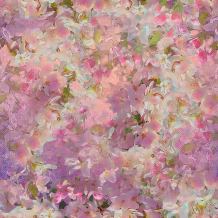 Seamless pattern with spring cherry blossom. Painting style floral art