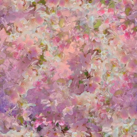 Naadloos patroon met lente kersenbloesem. Schilderstijl florale kunst