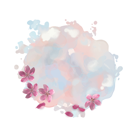 cherry blossom: Abstract vector watercolor stain with cherry blossom flowers Illustration