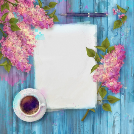 wooden board: Spring watercolor top view composition. Blank paper sheet with cup of coffee, pen, and branch of lilac on wood background