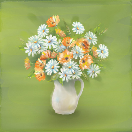 garden marigold: Flowers bouquet in glass vase. Watercolor painting of wild flowers on a textured paper background