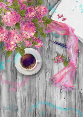 silk scarf: Spring watercolor top view composition. Blank paper sheet with cup of coffee, pen, silk scarf and branch of lilac on wood background Stock Photo