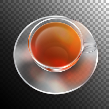 glass cup: Vector glass cup of tea. Isolated top view object