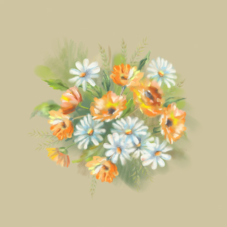 calendula: Watercolor illustration of painted flowers bouquet. The original botanical garden nature art