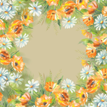 garden marigold: Watercolor illustration of painted flowers border. The original botanical garden nature art