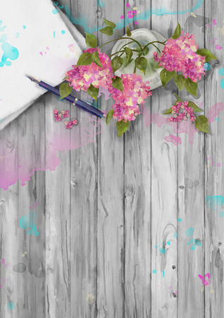 watercolor pen: Spring watercolor top view composition. Paper sheet with pen and bouquet of lilac in a vase on wooden background Stock Photo