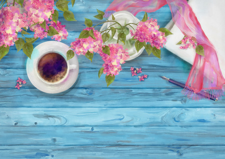 Spring watercolor top view composition. Blank paper sheet with cup of coffee, pen, silk scarf and branch of lilac on wood background Stock Photo