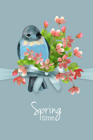 Vector floral spring card. Cherry blossom flowers and bird. Illustration
