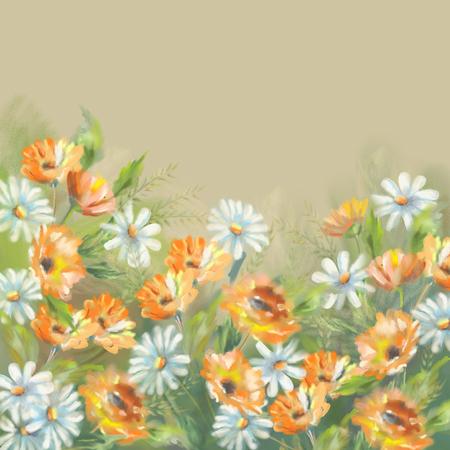 marigold: Watercolor illustration of painted flowers bouquet. The original botanical garden nature art