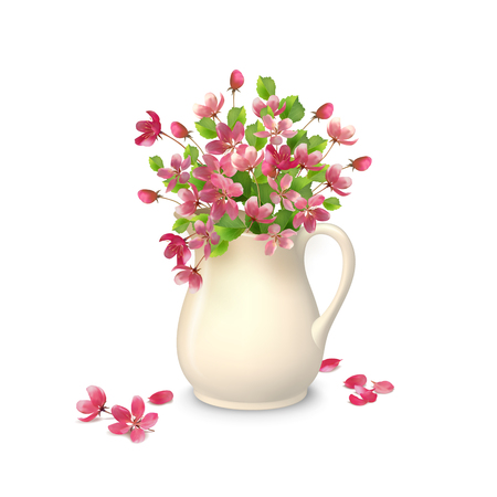 arreglo floral: Ilustración del resorte del ramo en una jarra de cerámica con pétalos caídos y flores sobre un fondo blanco Vectores