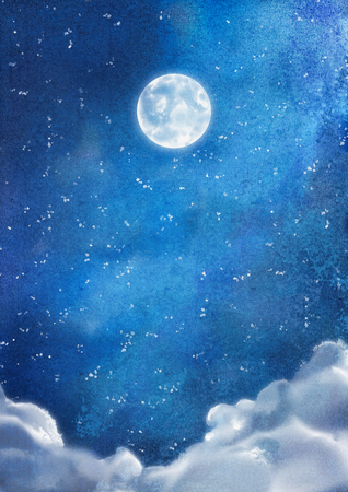 nightly: Watercolor nightly dramatic blue landscape with cumulus clouds and moon