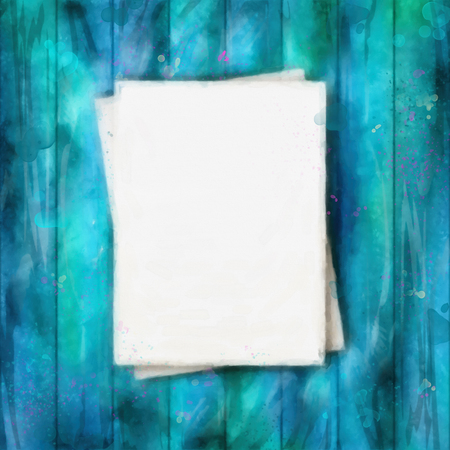 watercolor paper: Vector note sheets of paper on vintage wooden planked background