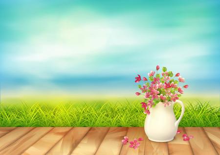 frescura: Vector paisaje de verano tranquilo y claro. hierba verde, ramo en una jarra de cerámica con pétalos caídos y flores, textura suelo de madera contra el cielo azul Vectores