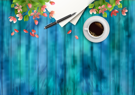 Spring Vector Top View Background. Blank paper sheet with cup of coffee, pen,cherry blossom flowers on wooden table