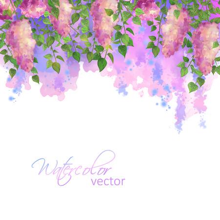 Aquarell Vektor Frühling künstlerisch abstrakte Grenze mit Blumen und Zweigen der Flieder, Schlieren, Flecken