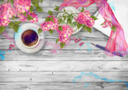 spring: Spring watercolor top view composition. Blank paper sheet with cup of coffee, pen, silk scarf and branch of lilac on wood background Stock Photo