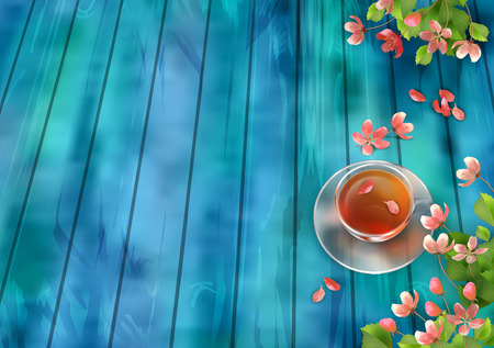 tea table: Spring Vector Top View Background. Cup of tea, cherry blossom flowers with fallen petals on wooden table