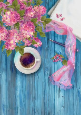 hoja en blanco: La primavera de la acuarela composición de la vista superior. hoja de papel en blanco con la taza de café, pluma, pañuelo de seda y la rama de la lila en el fondo de madera Foto de archivo