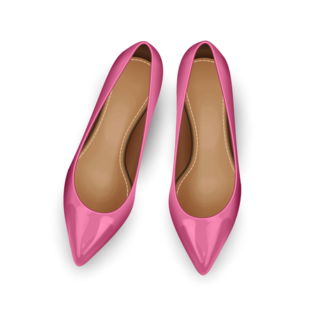 Pink vector female shoes over white. Top view