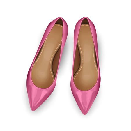 Roze vector vrouwelijke schoenen over wit. bovenaanzicht